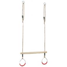 Houten trapeze met rode ringen van metaal