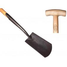Zwanehals spade met lip essen steel 750mm
